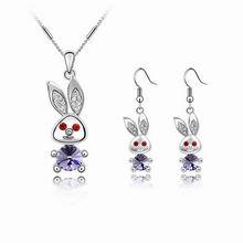 奥地利水晶套装-大耳朵兔(藕荷紫)