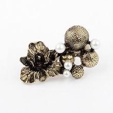 韩版时尚珍珠秘密花园双排开口戒指