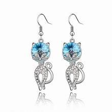 奥地利水晶耳环--天猫(海蓝)