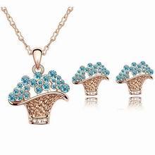 水晶套装--花篮(玫瑰金+海蓝)