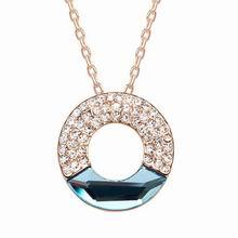 奥地利水晶项链--同心圆(玫瑰金+海蓝)