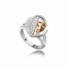 奥地利水晶戒指--相思叶(金色魅影)