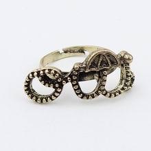 欧美复古精致小蘑菇头开口戒指