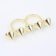 欧美夸张时尚锥形光面戒指(金色)