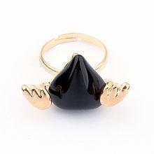 韩国时尚金属时尚小天使桃心精致开口戒指(黑色)