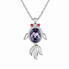 奥地利水晶毛衣链--灵动金鱼(藕荷紫)