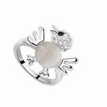 镀真金小麻雀猫眼石戒指(白色)