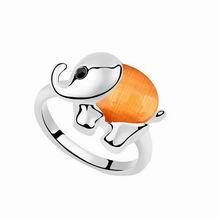 镀真金大象猫眼石戒指(橘色)