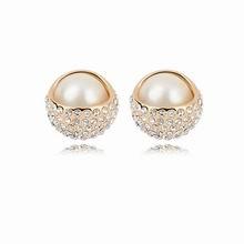 珍珠耳钉--珍珠美人(白色+香槟金)