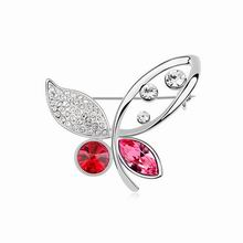 奥地利水晶胸针--燕飞蝶舞(浅红)