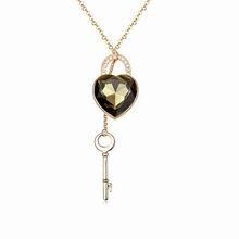 镀真金优质水晶毛衣链--心锁(黑钻石)