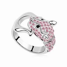 奥地利水晶戒指--甜心豹(浅玫红)