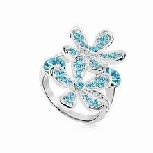 奥地利水晶戒指--冰菱花开(海蓝)