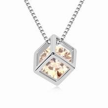 镀真金爱情方晶锆石项链(香槟金)