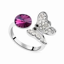 奥地利水晶戒指--蝶衣蹁跹(紫色)