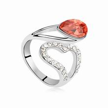 奥地利水晶戒指--心星的泪光(水莲红)