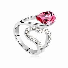 奥地利水晶戒指--心星的泪光(玫红)