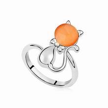 镀真金甜甜猫猫眼石戒指(橘色)