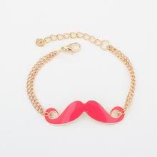 欧美百搭时尚小胡子金属手链(紫红)
