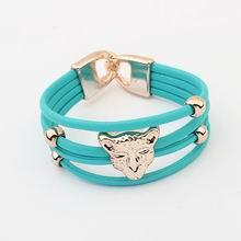 欧美时尚新款豹子头炫彩手链(蓝)