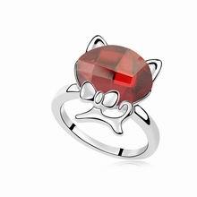 奥地利水晶戒指--绅士猫(水晶红岩)