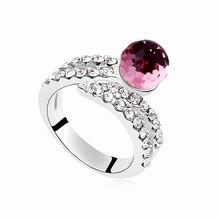奥地利水晶戒指--恋恋情心(浅玫红)