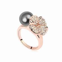 奥地利珍珠戒指--花想容(深灰+香槟金)