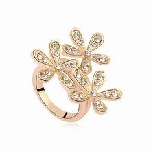 奥地利水晶戒指--笑颜如花(白色+香槟金)