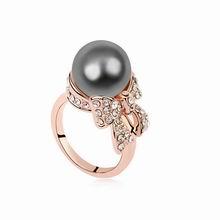 奥地利水晶戒指--水墨佳人(深灰+玫瑰金)