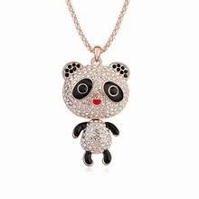 奥地利水晶毛衣链--熊猫宝宝(白色+玫瑰金)