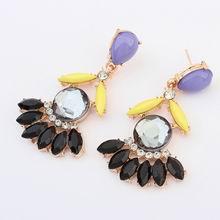 欧美瑞丽时尚扇形甜美耳环(黑钻石)