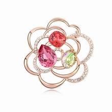 奥地利水晶胸针--流年似锦(玫红+玫瑰金)