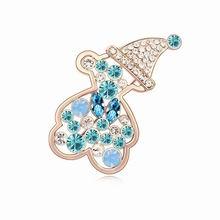 奥地利水晶胸针--快乐萌熊(海蓝+玫瑰金)