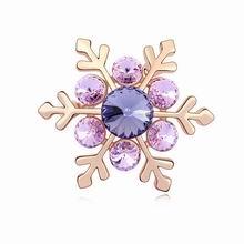 奥地利水晶胸针--雪之花(藕荷紫+玫瑰金)
