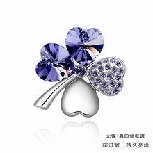 奥地利水晶胸针-甜美四叶(藕荷紫1)