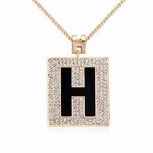 奥地利水晶毛衣链--字母情缘(黑色+香槟金)