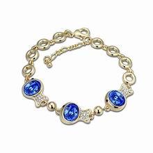 奥地利水晶手链--金鱼姬(蓝色+香槟金)