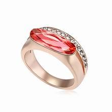 奥地利水晶戒指--一世情缘(水莲红+玫瑰金)