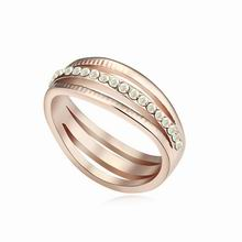 奥地利水晶戒指--相见恨晚(彩白+玫瑰金)
