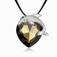 镀真金海豚之舞精品项链(黑钻石)