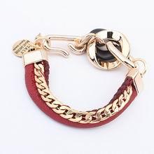 欧美时尚流行麻花镀金手链(酒红)