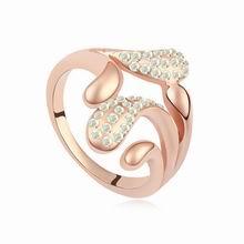 奥地利水晶戒指--爱的停留(彩白+玫瑰金)