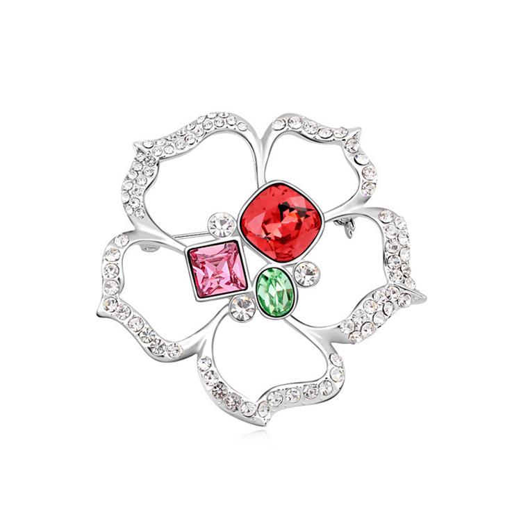奥地利水晶胸针--沫恋之际(水莲红)
