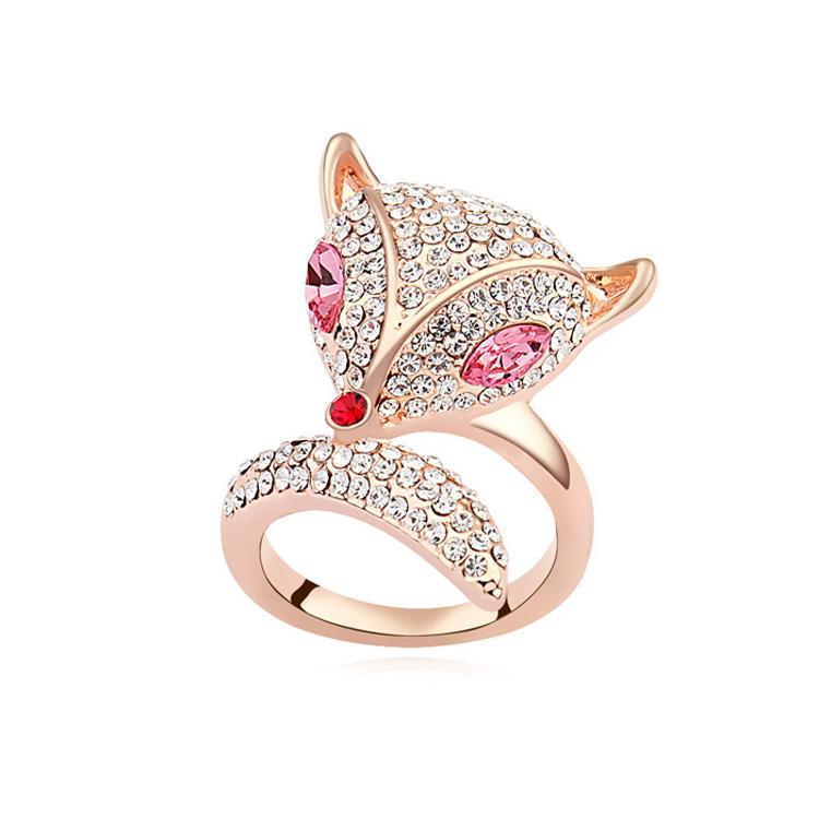 奥地利水晶戒指--狐狸(玫红+玫瑰金)