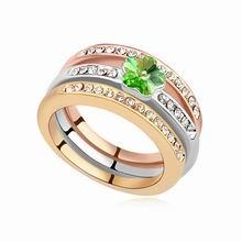 奥地利水晶戒指--梅花套戒(橄榄+18K+玫瑰金)