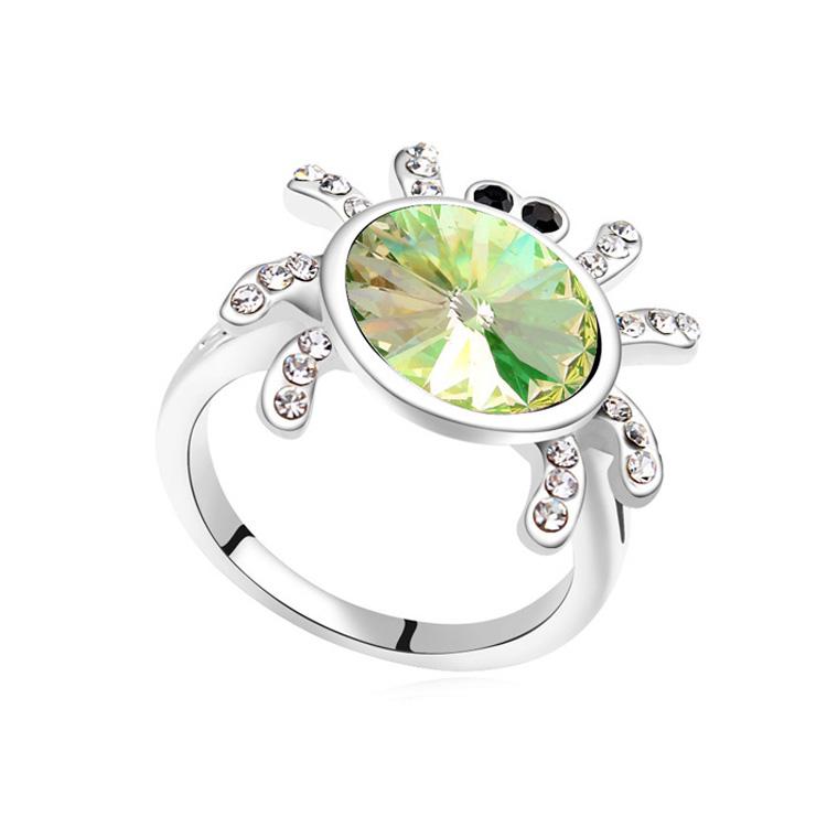 奥地利水晶戒指--魔法蜘蛛(夜光绿)
