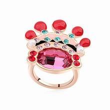 奥地利水晶戒指--新娘戒指(玫红+玫瑰金)