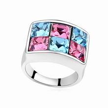 奥地利水晶戒指--旅行的意义(玫红+海蓝)