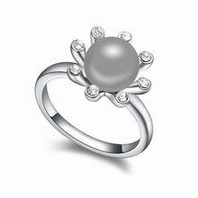 奥地利珍珠戒指--爱的簇拥(深灰)