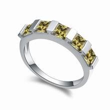 AAA级手工镶嵌锆石戒指--空城(橄榄绿)